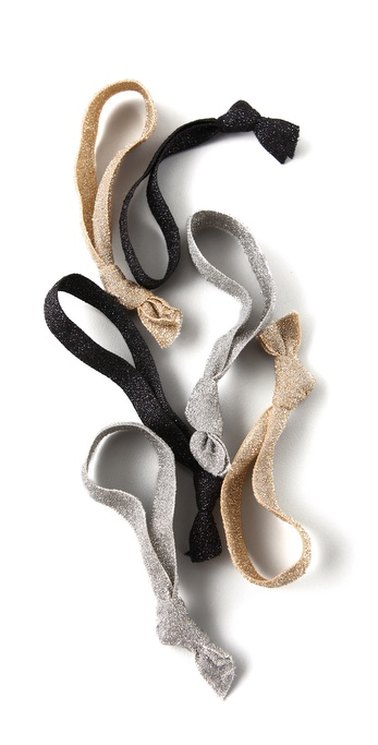 Bop Basics Metallic Hair Tie Set - Metallic Multi at Shopbop / East Dane