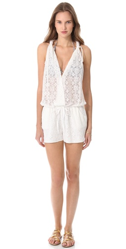 Shop Bop Basics online and buy Bop Basics Lulu Lace Romper - Shopbop's own exclusive label.  A lace cover-up romper is a perfect airy layer over a barely there bikini. A hidden snap closes the crossover V neckline, and a drawstring cinches the waist. Slant pockets sit at the hips, and ropes knot at the thick straps. Sheer bodice and lined shorts.  Fabric: Lace. Shell: 80% cotton/20% nylon. Lining: 100% cotton. Hand wash. Made in the USA. Bikini sold separately.  MEASUREMENTS Inseam: 2.5in / 6.5cm - Ivory