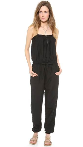 Shop Bop Basics online and buy Bop Basics Beachy Cover Up Jumpsuit Black - Shopbop's own exclusive label. Smocking cinches the loose silhouette of this lightweight linen jumpsuit. 4 pockets and drawstring waist. Adjustable spaghetti straps. Fabric: Crisp weave. 100% linen. Hand wash. Made in the USA. MEASUREMENTS Length: 29in / 73.5cm, from shoulder. Available sizes: L,M,S,XS