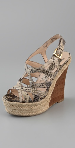 Boutique 9 Flower Snake Print Wedge Sandals