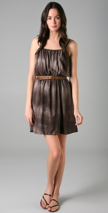Brochu Walker Gathered Waist Print Dress with Studded Belt