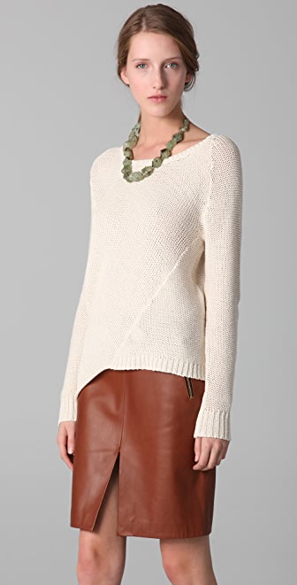 Brochu Walker Long Sleeve Asymmetrical Sweater