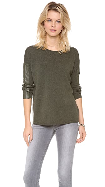 Brochu Walker Leather Trim Crew Sweater