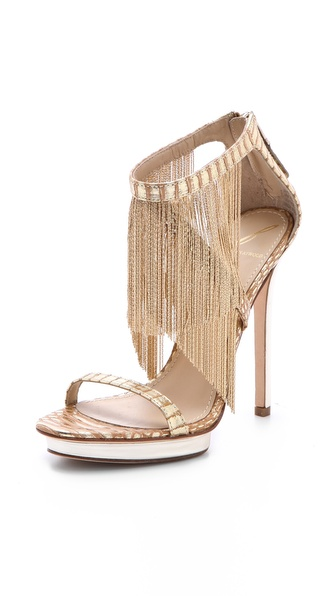 B Brian Atwood Cassiane Fringe Sandals