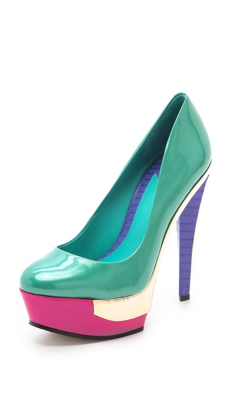 B Brian Atwood Leonida Metallic Inset Pumps