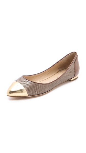 B Brian Atwood Avignon Ballet Flats with Cap Toe