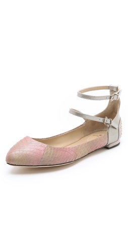 B Brian Atwood Amata Snake Ballet Flats