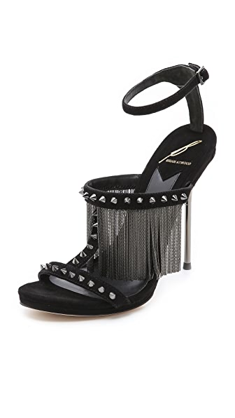 B Brian Atwood Moultrie Fringe Sandals