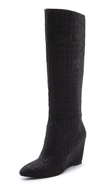 B Brian Atwood Bomand Croco Wedge Boots