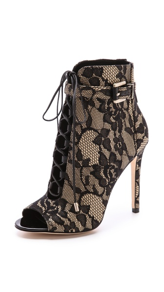 B Brian Atwood Open Toe Lace up Lace Booties