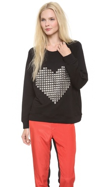 By Chance Melissa Heart Stud Sweatshirt