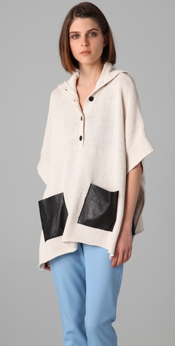 By Malene Birger Roloy Knit Poncho with Leather Pockets
