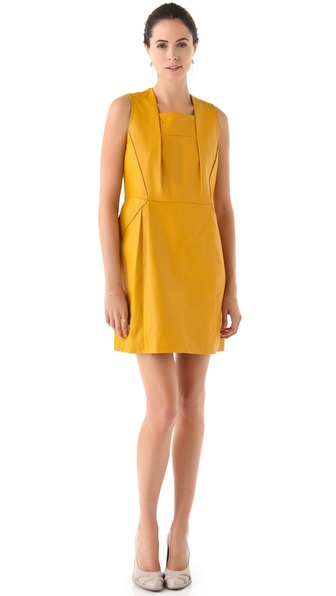Cacharel Sleeveless Leather Dress with Pintucks