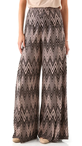 Cacharel Zigzag Wide Leg Pants with Pleats