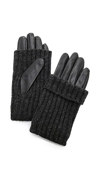 Carolina Amato Convertible Leather & Knit Gloves