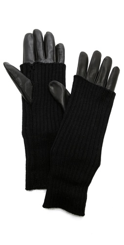 Carolina Amato Knit & Leather Gloves at Shopbop / East Dane