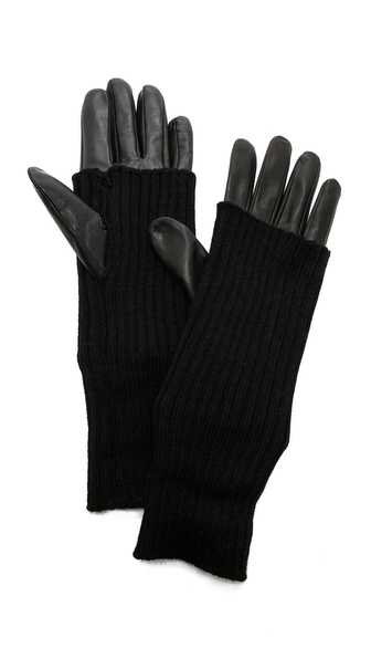 Carolina Amato Knit & Leather Gloves