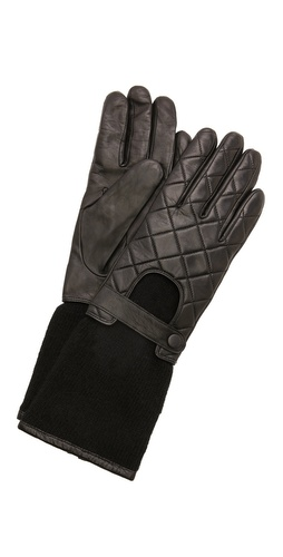 Carolina Amato Leather Knit Moto Gloves at Shopbop / East Dane