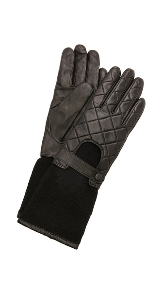 Carolina Amato Leather Knit Moto Gloves