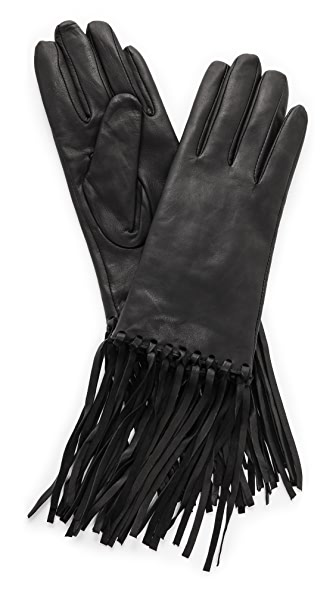 Fringe Leather Gloves Carolina Amato