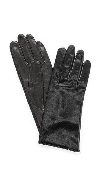 Кожаные перчатки с отделкой кожей коротким ворсом Carolina Amato