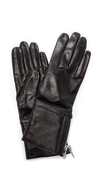 Кожаные перчатки с манжетой из короткой шерсти Carolina Amato