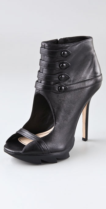 Camilla Skovgaard Open Toe Button Booties on Lug Sole