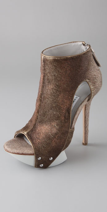 Camilla Skovgaard Cutout Haircalf Platform Booties on Lug Sole
