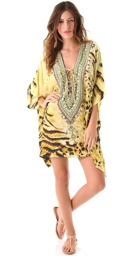 Camilla Safari Tiger Lace Up Caftan