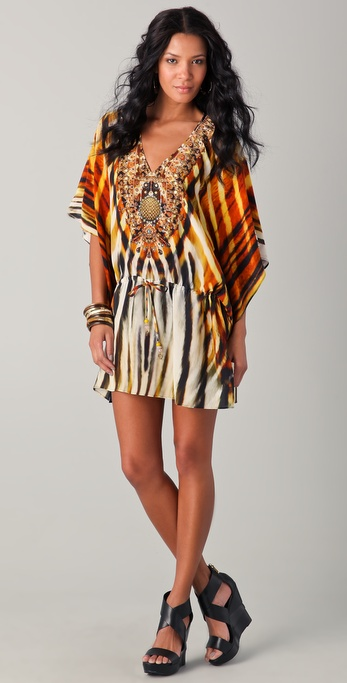 Camilla Sphinx Drawstring Mini Caftan