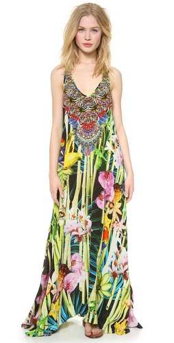 Shop Camilla online and buy Camilla Garden of Eden Cover Up Dress - Styled in a tropical-inspired print, this Camilla caftan gains bright texture from Swarovski crystals. V neckline and racer back. Semi-sheer.  Fabric: Silk crepe. 100% silk. Dry clean. Imported, India.  MEASUREMENTS Length: 59in / 150cm, from shoulder - Wonderland