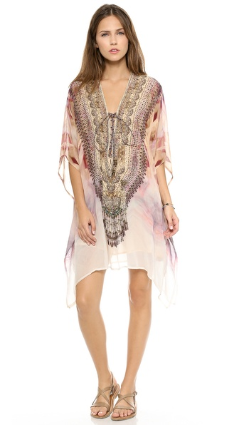 Shop Camilla online and buy Camilla Short Lace Up Caftan Halcyon - Bright Swarovski crystals detail the lace up V neckline of this Camilla caftan, styled in a vivid print. Beads and tassels accent the string ties. Lined. Sheer. Fabric: Silk crepe. 100% silk. Dry clean. Imported, India. Measurements Length: 31in / 79cm, from shoulder. Available sizes: One Size