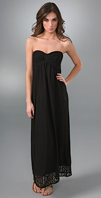 C&C California Strapless Maxi Dress with Lace