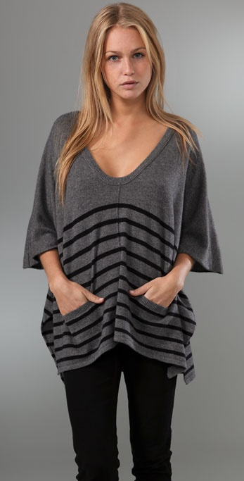C&C California Striped Poncho Sweater