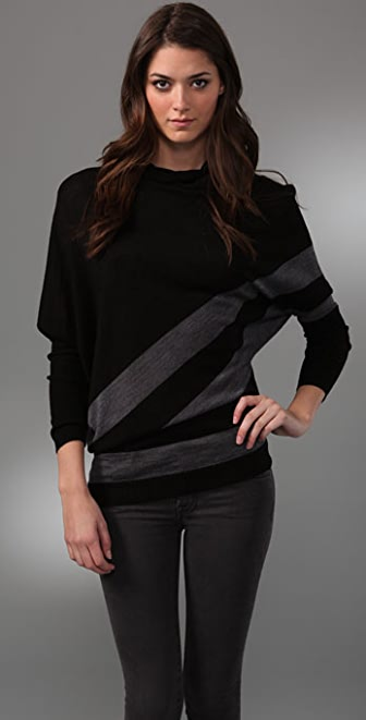 C&C California Striped Drape Cowl Sweater