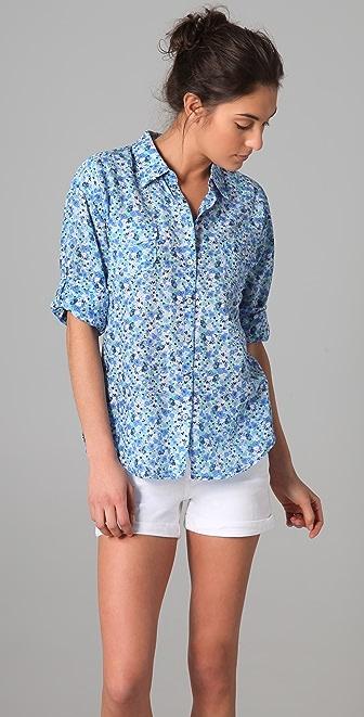 C&C California Jolie Floral Print Roll Sleeve Pocket Shirt