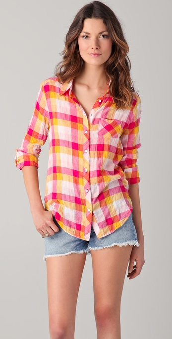 C&C California Juniper Multi Check Roll Sleeve Shirt