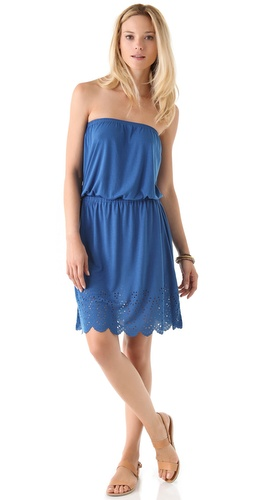 C&C California Eyelet Hem Bandeau Dress