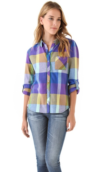 C&C California Brushed Colorblock Plaid Shirt
