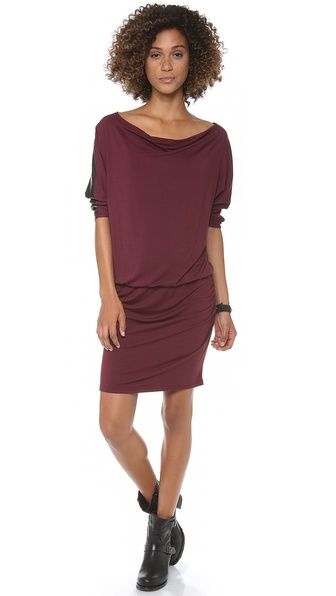 C&C California 3/4 Sleeve Draped Neck Dress