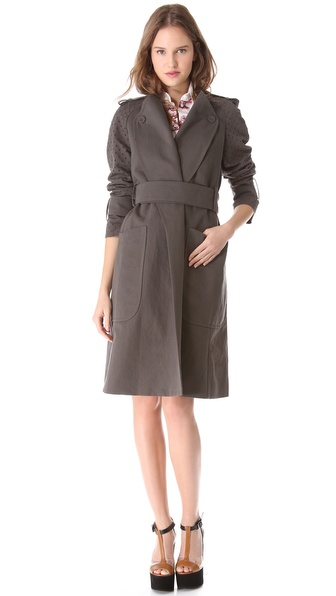 Carven Linen & Cotton Trench Coat