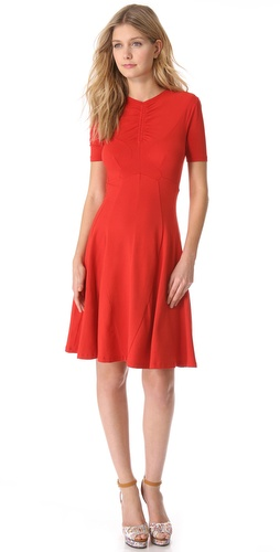Shop Carven Short Sleeve Jersey Dress and Carven online - Apparel, Womens, Dresses, Day,  online Store