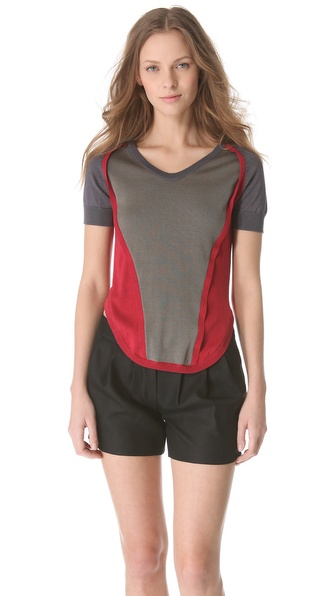 Carven Short Sleeve Color Block Sweater