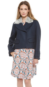 Carven Coat with Faux Fur Collar
