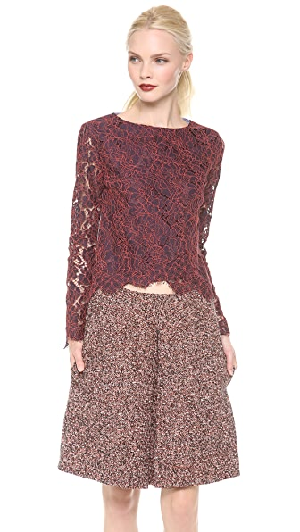 Carven Long Sleeve Lace Top