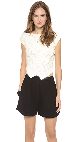 Carven Cropped Twisted Knit Top
