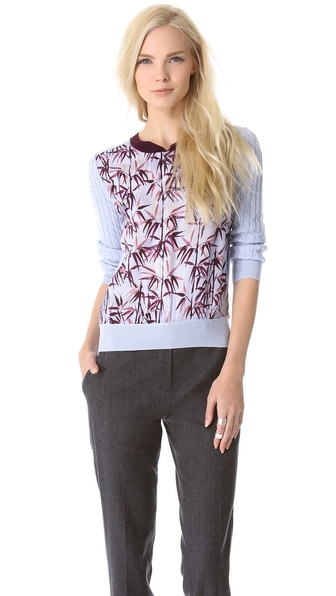 Carven Twisted Bamboo Print Sweater