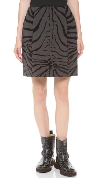 Carven Zebra Print Wool Skirt