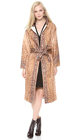 Carven Deer Print Bathrobe Coat