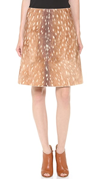 Carven Deer Print Short A Line Skirt